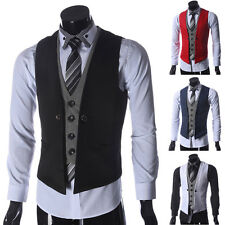 Fashion Men Slim Fit Formal Casual Dress Vest Suit Tuxedo Waistcoat Jacket Coats