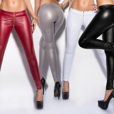 Leather Look Leggings Sexy Wet Look Trousers With Front Zip