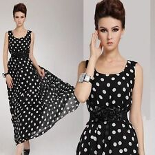 Women Sexy Chiffon Polka Dot Playsuit Casual Party Evening Summer Long Dress