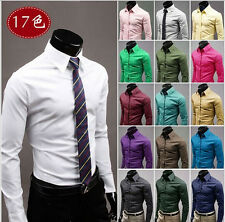 2015 New Quality Fashion Mens Shirt Casual Dress Long Sleeve Slim Fit T-Shirts