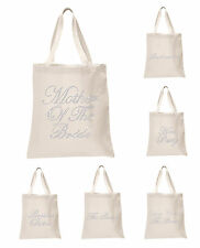 Ivory Crystal Wedding Favour Tote Bags personalised bridal hen party gift bags