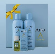 TWO Aria Gold Argan Oil of Morocco Gift Box 240ml Shampoo, Cond & 15ml Argan Oil