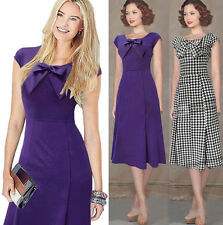 Vintage Design Women Celeb Bow-Knot Dress NEW Party Stretch Evening Midi Dresses