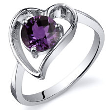 Heart Shape 1.00 cts Alexandrite Solitaire Ring Sterling Silver Sizes 5 to 9