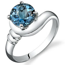 1.50 cts London Blue Topaz Solitaire Ring Sterling Silver Sizes 5 to 9
