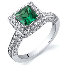 Princess Cut 0.75 cts Emerald Engagement Ring Sterling Silver Size 5 to 9