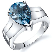 Brilliant 3.25 cts Swiss Blue Topaz Solitaire Ring Sterling Silver Sizes 5 to 9