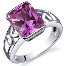 Radiant Cut 4.00 cts Pink Sapphire Solitaire Ring Sterling Silver Sizes 5 to 9