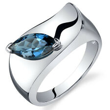Marquise Cut 1.00 cts London Blue Topaz Ring Sterling Silver Sizes 5 to 9