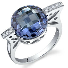 Double Checkerboard Cut 7.00 cts Alexandrite Ring Sterling Silver Size 5 to 9