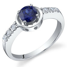Sleek and Classy 0.75 cts Sapphire Ring Sterling Silver Size 5 to 9