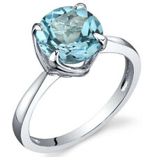 Sublime Solitaire 2.25 cts Swiss Blue Topaz Ring Sterling Silver Size 5 to 9