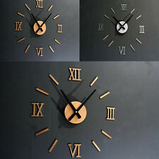 Hot 3D DIY Roman Numerals Mirror Home Office Deco Wall Clock SOZ