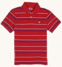 Timberland Men's Short Sleeve Striped Rugby Red Polo Shirt Style #6852J