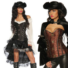 Sexy Steampunk Corset Brocade Vintage Carnival Bustier Lingerie Gothic Costume