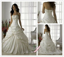 2015 Hot A-Line White/Ivory Wedding Dress Bridal Gown Size 6 8 10 12 14 16 18 +
