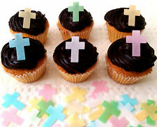 24 Cross Edible Cupcake Topper Cake Decoration Wedding Baby Christening Baptism