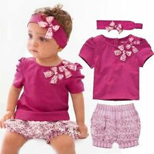 Girls Baby Top + Floral Short Pants + Headband 3pcs/Set Outfits Costume Clothes