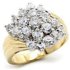 18K GOLD EP 3.0CT DIAMOND SIMULATED CLUSTER RING sizes 5-10 u choose the size