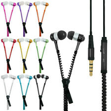 Fashion 3.5mm Stereo Jack Earbuds Earphones Headphone Headset Zipper With Mic