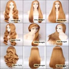 Lace Front Wig _ #33 Light Brown Long Full Wig for Ladies Straight /Curly Beauty