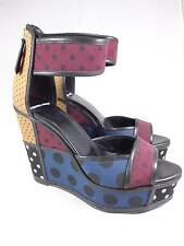 Piere Hardy Made in Spain Black Multicolor Polk A Dot Platform Sandal SZ39 Eur