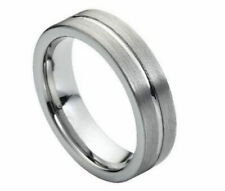 6mm Men's or Ladies Tungsten carbide Pipe Cut Brushed Finish wedding band ring