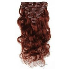 """120g 18""""  20"""" 22"""" 24"""" #33Auburn Body Wave Clip In Remy Human Hair Extensions"""