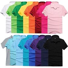 UK Newest Solid Color Mens Lapel POLO Shirt Short Sleeve Casual Tee T-shirt