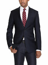 DKNY Slim Fit Solid Navy Blue Two Button Wool Blazer Sportcoat