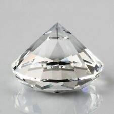 Clear Crystal Diamond Shaped Paperweight Glass Gem Display Ornament Gift 3 Sizes
