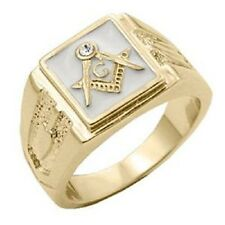 18K GOLD EP MASONIC FREEMASON WHITE MENS CZ RING size 8-14 YOU CHOOSE