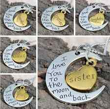 Fashion Family Charm Pendant Necklace I LOVE YOU TO THE MOON AND BACK