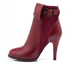 womens high heel belt buckle side zipper PU leather ankle boots warm shoes size
