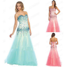 Sexy Hot Beaded Mermaid Long Formal Party Gown Evening Prom Dresses Custom Made