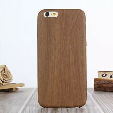 Ultra Slim Wood Grain Leather Back Case Cover Skin For iPhone 5 5S 6 6 Plus 5.5""