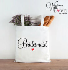 BRIDESMAID TOTE SHOPPER SHOPPING BAG WEDDING HEN PARTY GIFT PERSONALISED