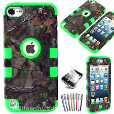 For iPod Touch 4th 5th Gen High Impact Armor Hard Soft Rubber Hybrid Case Tree