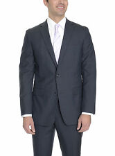 Bar III Slim Fit Navy Blue Glen Plaid Two Button Wool Suit