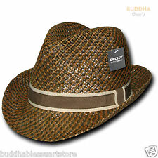 Decky Paper Braid  Woven Brown 2 Tone Hatband Fedora Fedoras Trilby Hats Hat