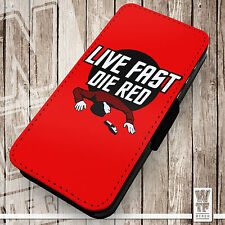 Live Fast Die Red.  Printed Faux Leather Cover Case Flip Style. Star Trek Parody
