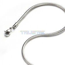 "1.2 - 3.2mm 16""-20"" Silver Stainless Steel Round Snake Necklace Chain Men Women"
