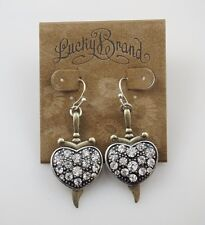 LUCKY BRAND Crystal Antique Gold Tone Sword Bohemian Drop Earrings, NWT