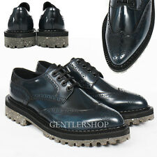 Mens Fashion Shoes Brogue Perforated Bluish Black Leather Bluchers 5340,GENTLERS