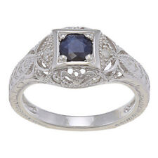 1.25ct Genuine Sapphire Diamond Ring Vintage Style in Sterling Silver
