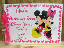PERSONALISED MINNIE & MICKEY MOUSE AUTOGRAPH BOOK DISNEYLAND PARIS MEMORY BOOK