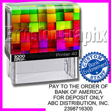 Custom Personalized BANK ENDORSEMENT Self Inking Rubber Stamp Rainbow Cube Theme