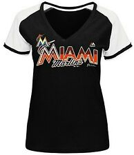 Miami Marlins MLB Majestic Winners Circle Womens Black Shirt Plus Sizes