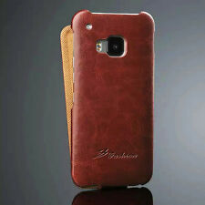 For HTC One M9 Vintage Glossy Flip Leather Ultra Thin Protector Skin Cover Case