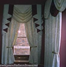 """SWAG AND TAILS SETS FITS 30"""" - 44"""" Wide + LINED CURTAINS & TIE-BACKS UP TO 89"""" D"""